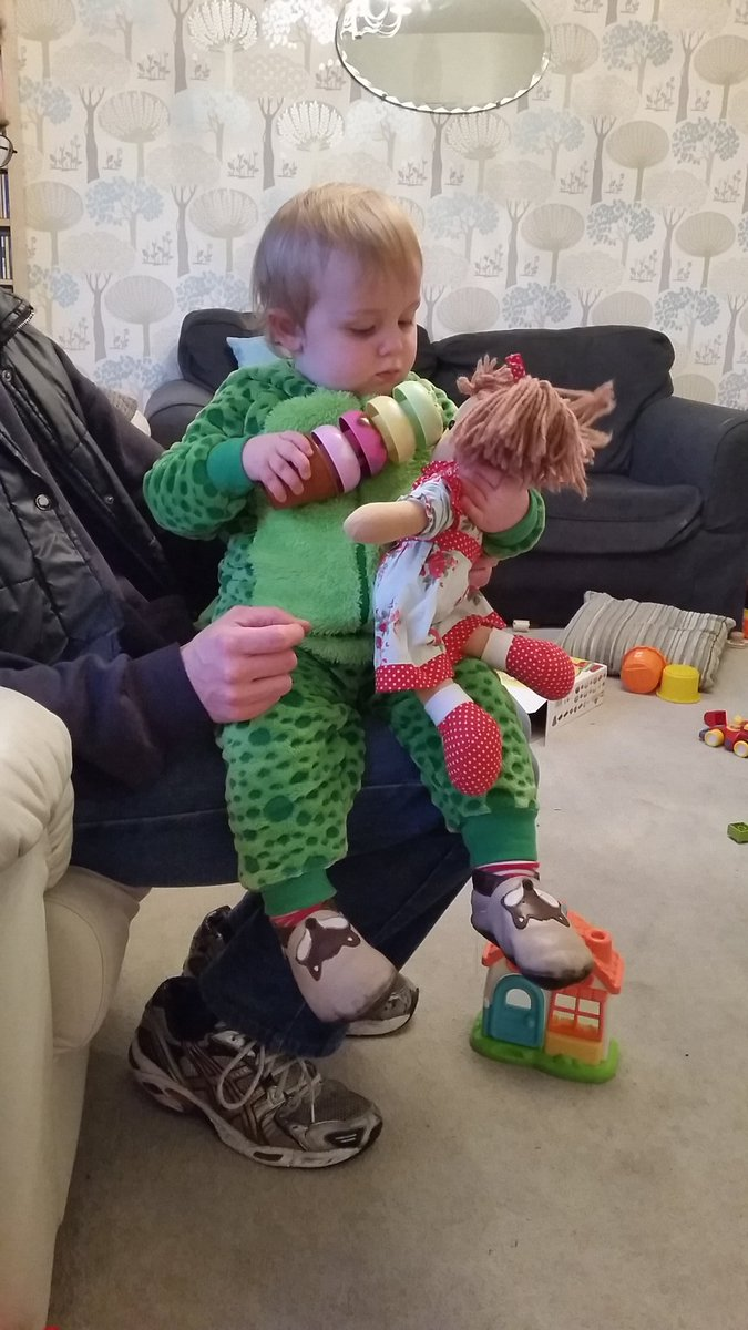 @LetToysBeToys #DifferentChildSameToy Here's my son in his dinosaur costume for #WBD2016 feeding icecream to dolly https://t.co/TKQVoNPbod