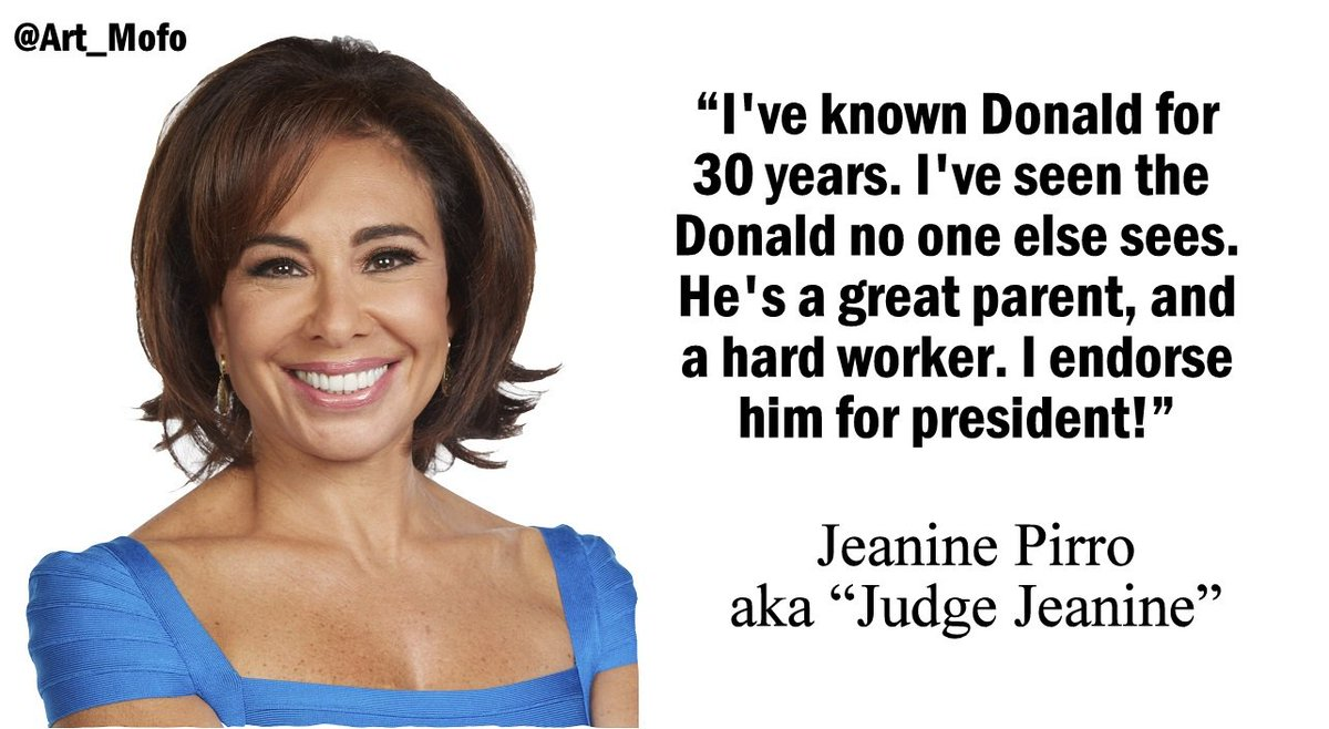 """@Art_Mofo: Judge Jeanine Pirro endorses @realDonaldTrump! #Trump #TrumpTrain #AlwaysTrump #Trump2016 https://t.co/IYMBPenSCh"""