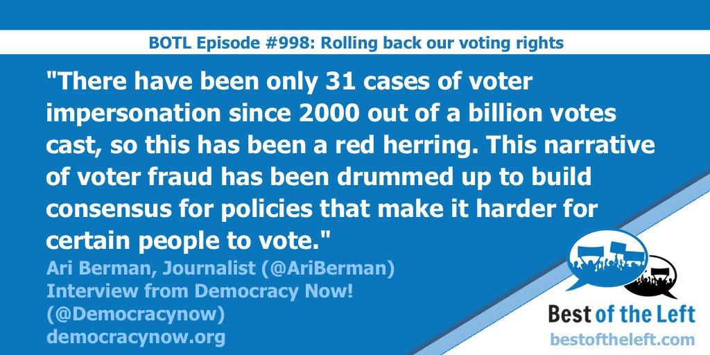 Journalist @AriBerman on the truth about voter fraud. @democracynow #BestoftheLeft https://t.co/EQJOEWWpue https://t.co/ckVtBNCaBk