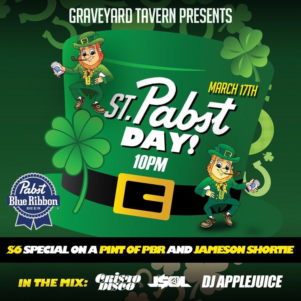 St.Patricks Day! It's a Family Reunion at @GRAVEYARD_EAV w/ @JeLaSol @CRISTODISCO & @DjAppleJuice Thursday Night! https://t.co/pjTPXYm2GV