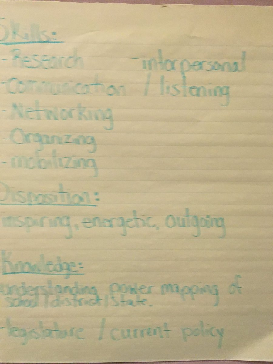 Part 2: What are the skills, knowledge, & dispositions we need for advocacy? @ctserc #e2lead @myglobalside https://t.co/WMBuj67Ibu