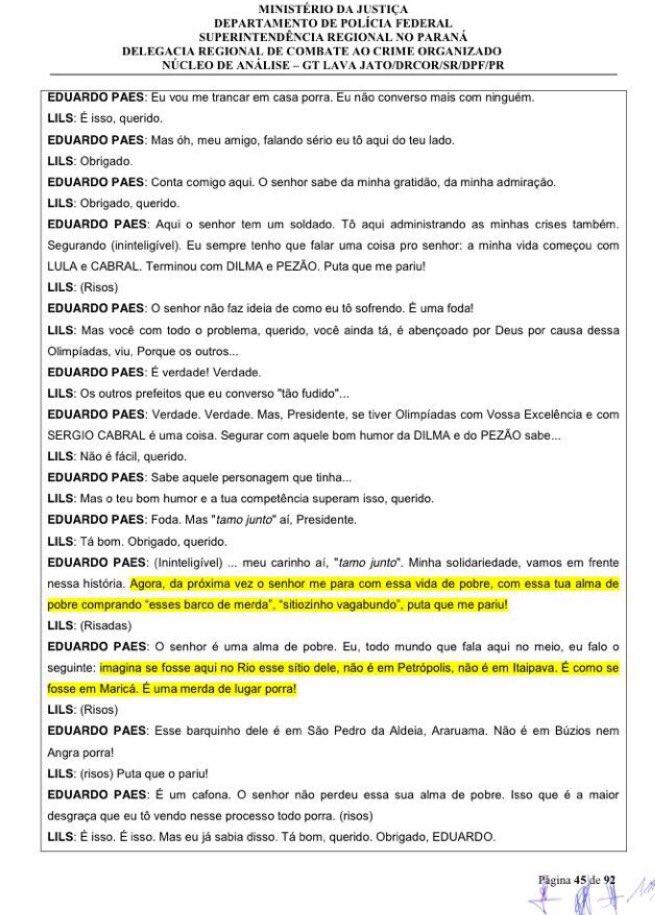 Pá de cal do PT. E Eduardo Paes, defensor de Lula-Dilma, sai chamuscado depois do grampo  dele c Lula. https://t.co/Z8hxBJCZxm