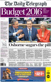 The papers lead with Osborne's Sugar Tax. Job done: nation diverted from £4bn cut for disabled people. https://t.co/I0KY2qDPPu