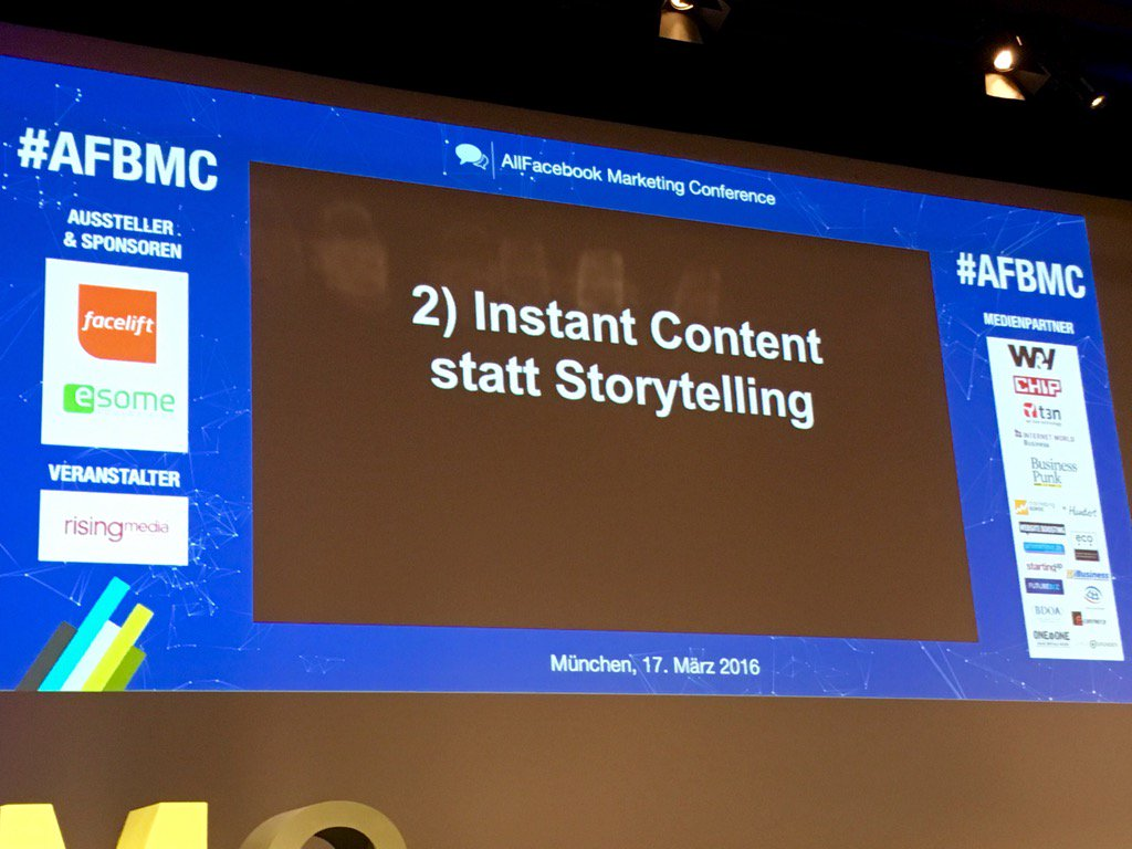 "#afmc Robert Seeger hasst ""Storytelling"". Social Media verlangt Instant Content: schnell, dirty, mittendrin. https://t.co/dafhygrCx1"