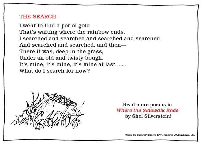 """What S In The Sack Shel Silverstein: HarperChildrens On Twitter: """"""""I Went To Find A Pot Of Gold"""