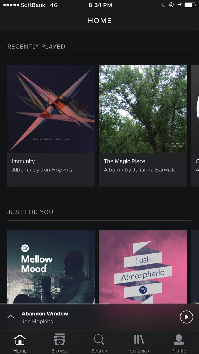 Another drawer menu falls to the mighty tab bar. This time, @Spotify. https://t.co/MZHY50v6Gj