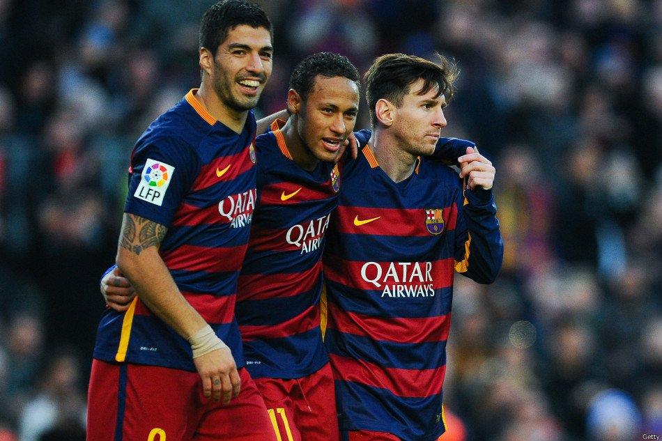 MSN il tridente del Barcellona formato da Messi Suarez Neymar
