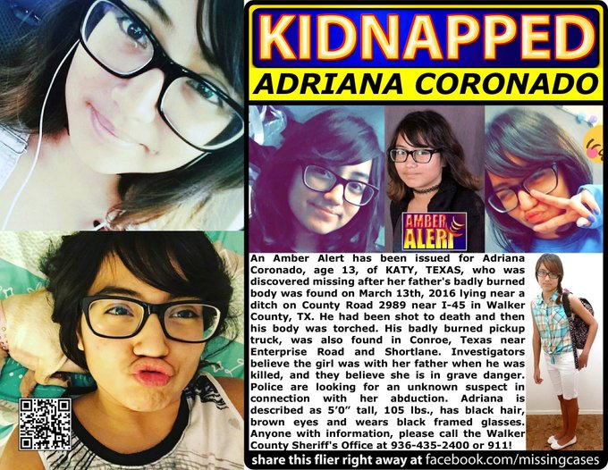 RT @MissingCases: RT #AdrianaCoronado #AmberAlert #TX girl #missing dad found slain #Katy #Texas https://t