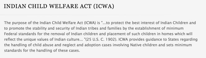 This is an excerpt of the Indian Child Welfare Act: https://t.co/hBgAFMKIoX
