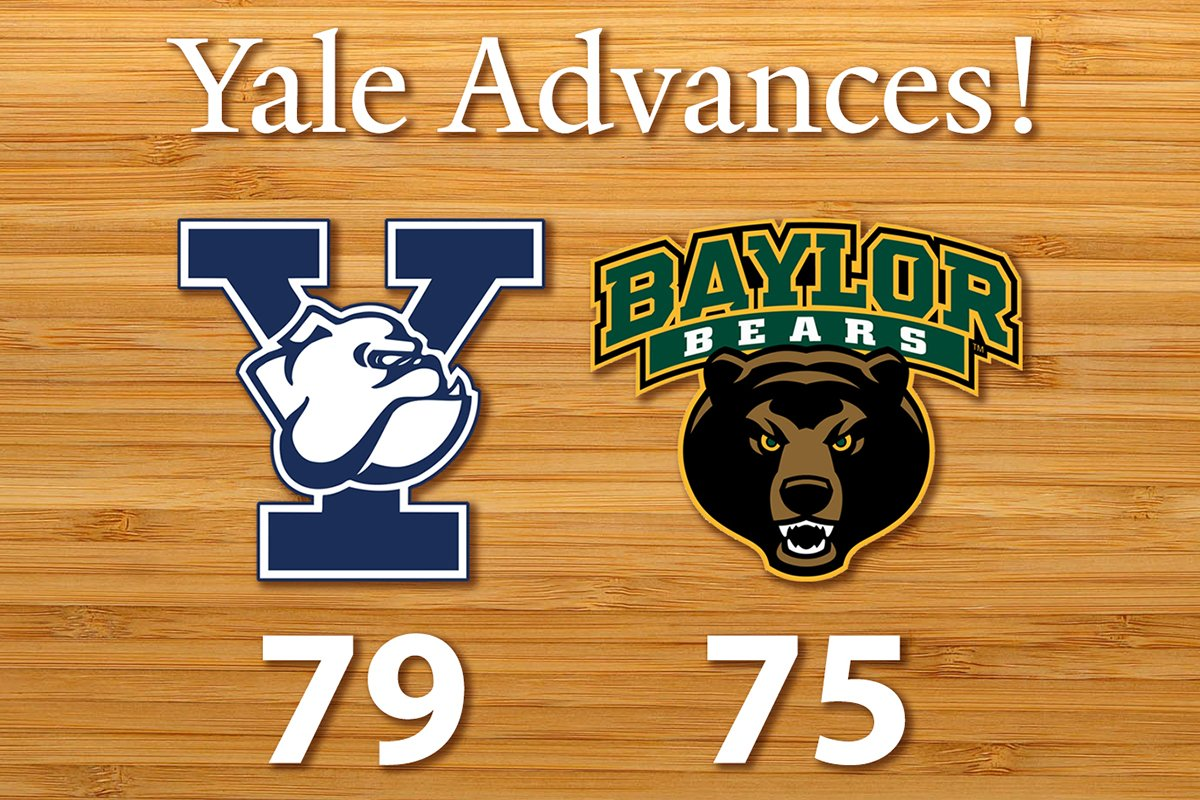 Yes! @Yale_Basketball wins 79 - 75 & heads to the second round! #NCAA #MarchMadness https://t.co/vpoTV35dRH