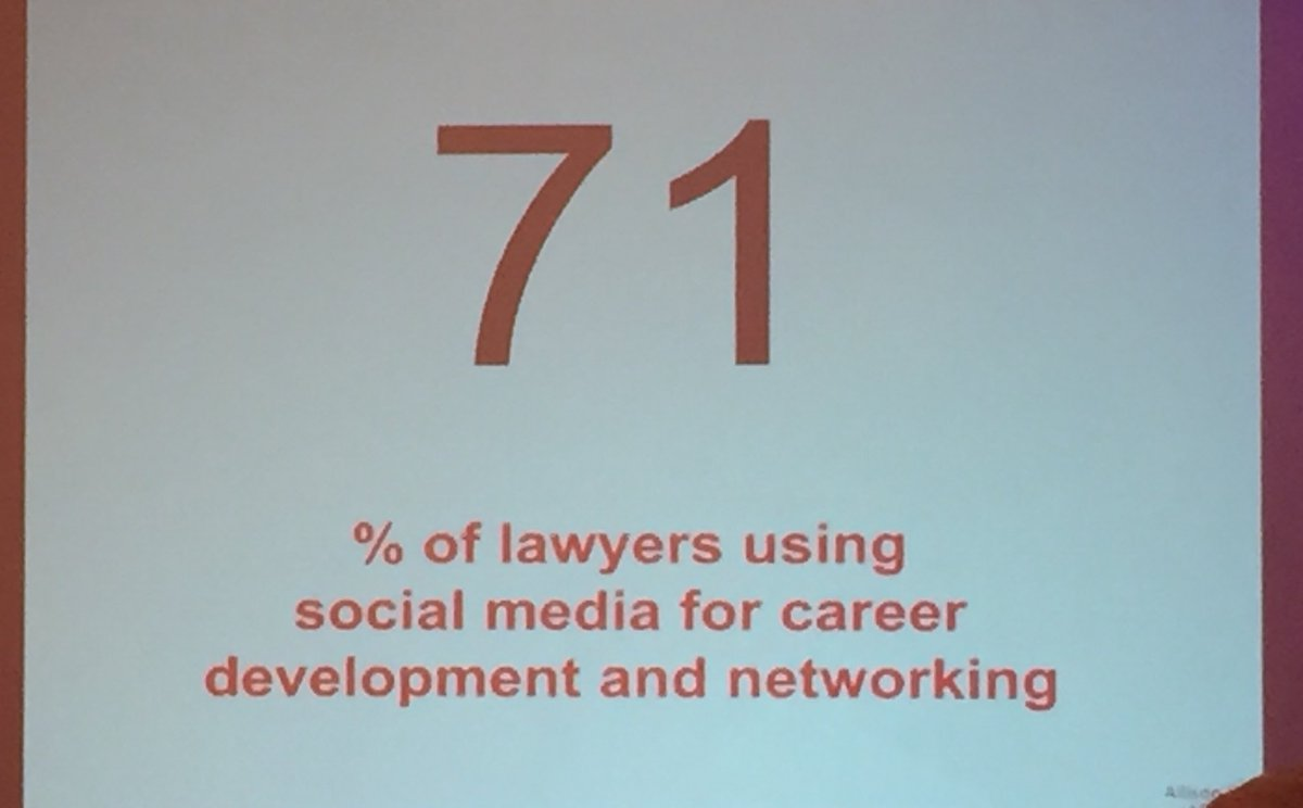 71% of lawyers use social media for professional development  #ABATECHSHOW https://t.co/aIAG1YtYhQ