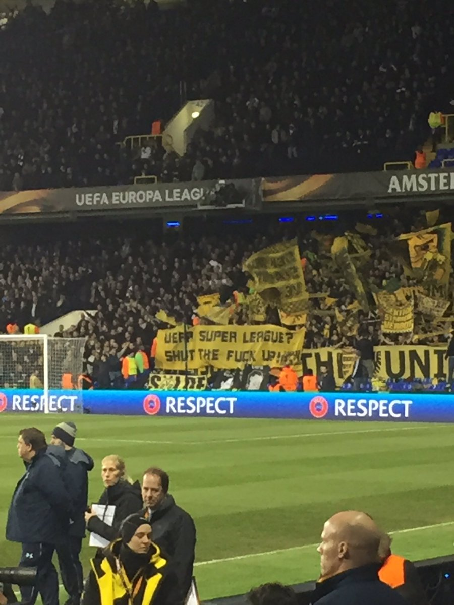 Borussia Dortmund fans making their views on a UEFA Super League clear... https://t.co/ypULOuGAIE