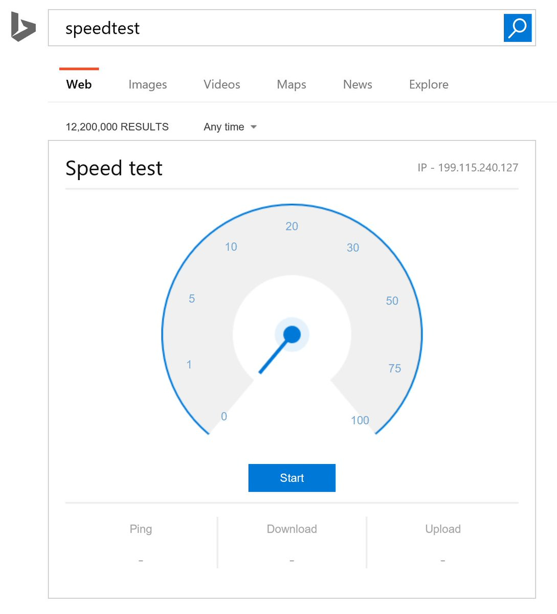 """Mind blown! Did you know you can just search """"Speedtest"""" into @Bing and get this? https://t.co/NGQLSQikFP"""