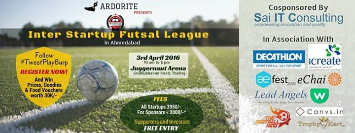 Inter #Startup Futsal League in association with #AEFest at @JuggernautArena #Ahmedabad https://t.co/BwS89DHuRp https://t.co/b20khq8B6C