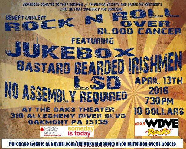 Bastard Bearded Irishmen @TheOaksTheater Wed 4/13 Benefits Leukemia Lymphoma Society Advance tix $10 @PghMusic1st