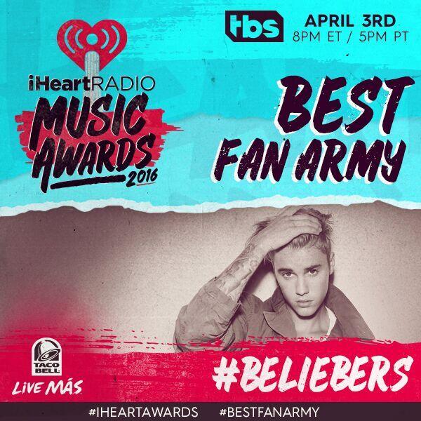 We belieb in you! Keep voting through the #iHeartAwards show tonight #Beliebers #BestFanArmy