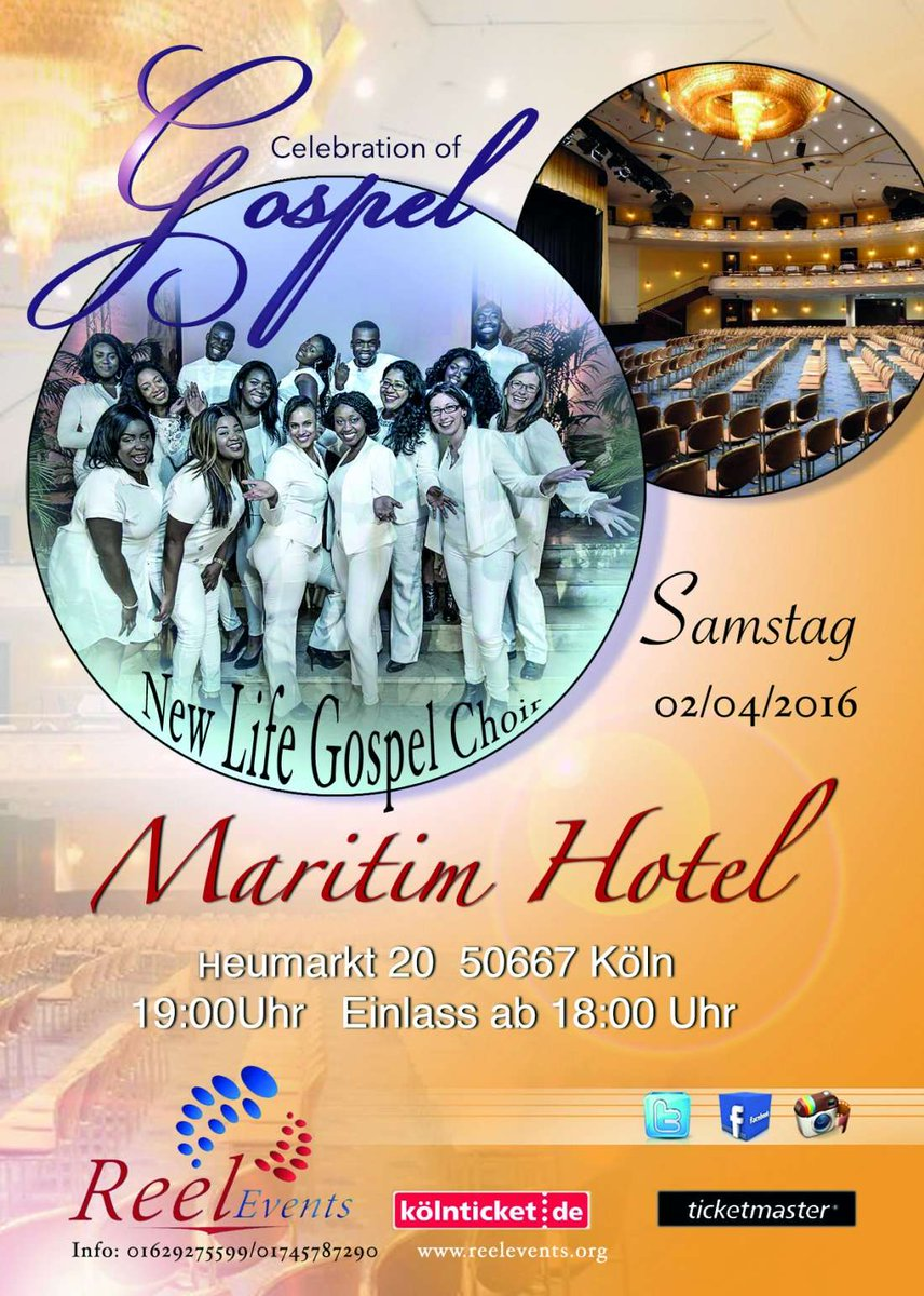 Tonight @ReelEvents7 Pre. Celebration of Gospel in association with #AEFest at @MaritimKoelnhttps://t.co/AVgqGPiEyg https://t.co/a9XMfR8VyZ