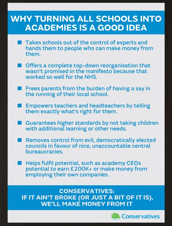 The Tory guide to why turning all schools into academies is a good idea. https://t.co/oT0VMHE5y9