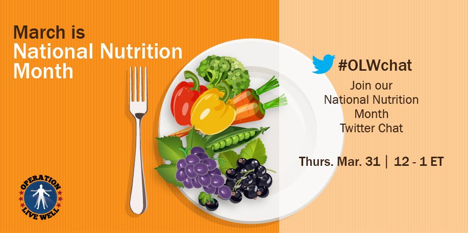 Join the @DoD_OLW #Nutrition chat Mar 31 at 12pm ET for   healthy diet tips and resources: https://t.co/kWYt65Xljb https://t.co/jQT5SbfbhF