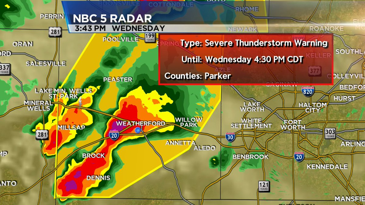 Parker Co Weather >> Nbcdfw Weather On Twitter Severe T Storm Warning For