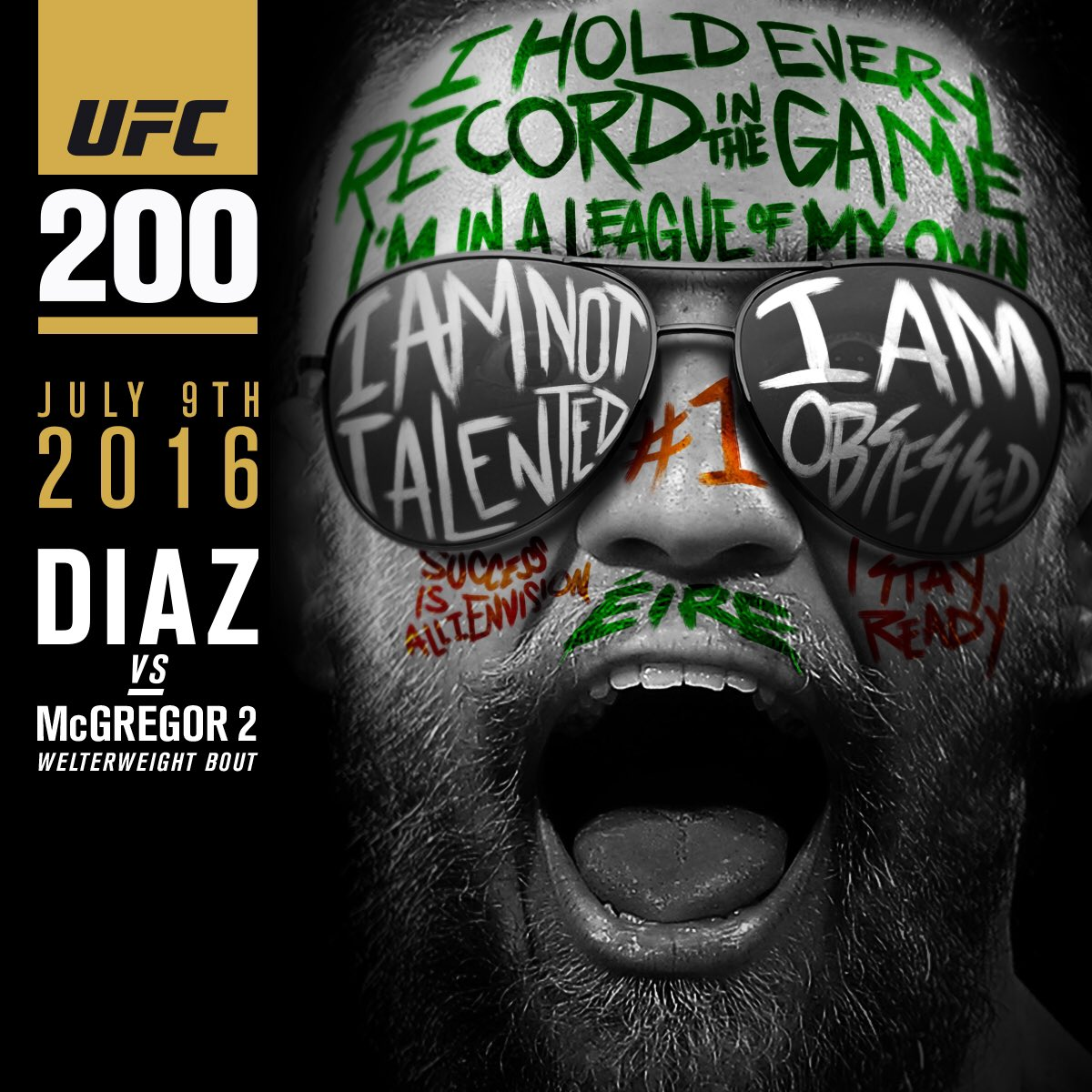 Conor McGregor在UFC 200上与Nate Diaz进行了复赛