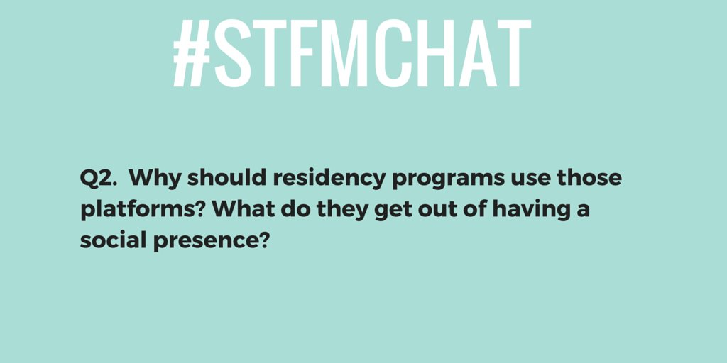 Now that you told us what platforms residency programs should use, tell us why using A2 in your answers. #stfmchat https://t.co/FeAMKx1AJO
