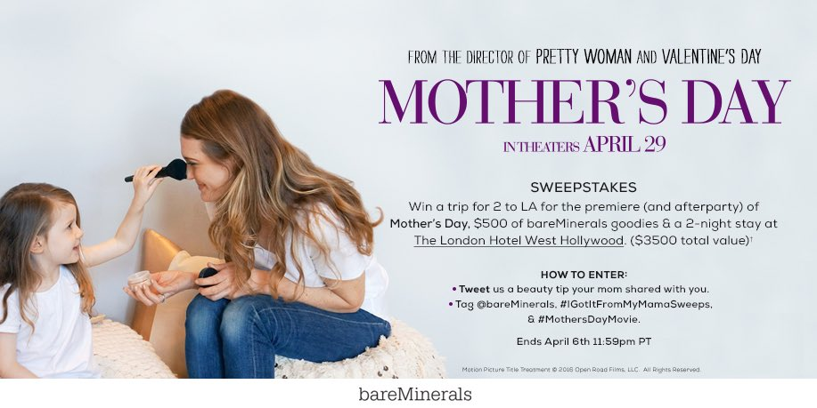 WIN a trip to the premiere of @SeeMothersDay in LA. https://t.co/IUr1fPYtL1 #IGotItFromMyMamaSweeps #MothersDayMovie https://t.co/gpYdLrr7Mb
