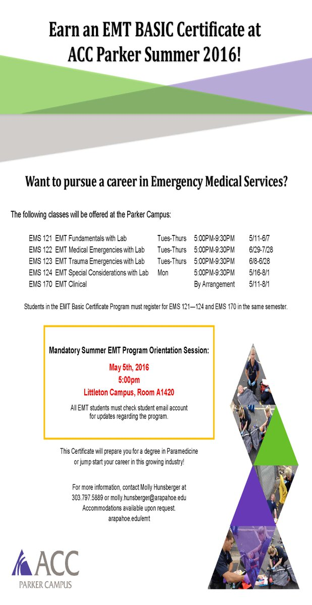Arapahoe Cc On Twitter Earn Your Emt Basic Certificate At Acc