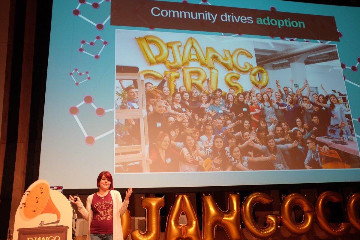 Moved by a @djangogirls shout out in @erikaheidi keynote. Thank you! ❤️❤️❤️ #djangocon https://t.co/YssPkXbv0q