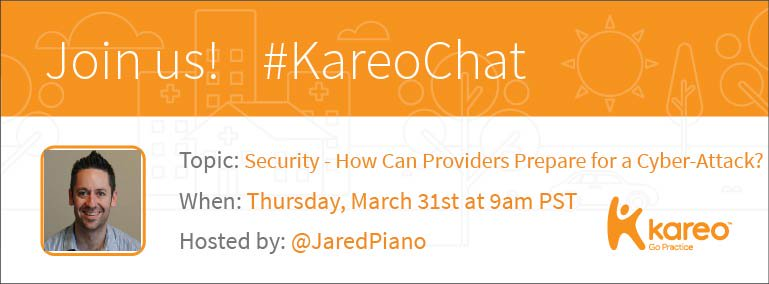 Welcome to #KareoChat w/ our host @jaredpiano! With the recent #MedStar attack, who's ready to talk #cybersecurity? https://t.co/D6YMIpkfbv