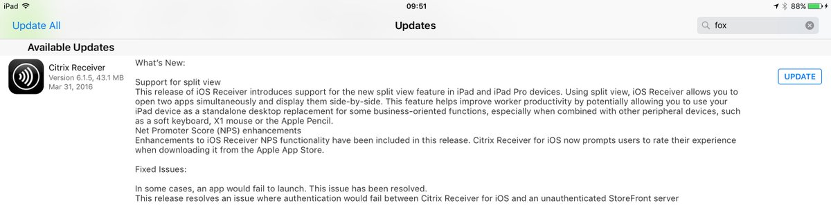 Huge update for me can finally use our Windows work apps side by side with my iPad apps! Thanks Citrix!!! https://t.co/nMXNpMNkbr