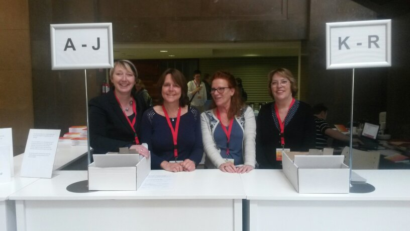 The registration desk team. Working very hard during the #esshc2016 #iish #valencia https://t.co/IsDTHpz2vy
