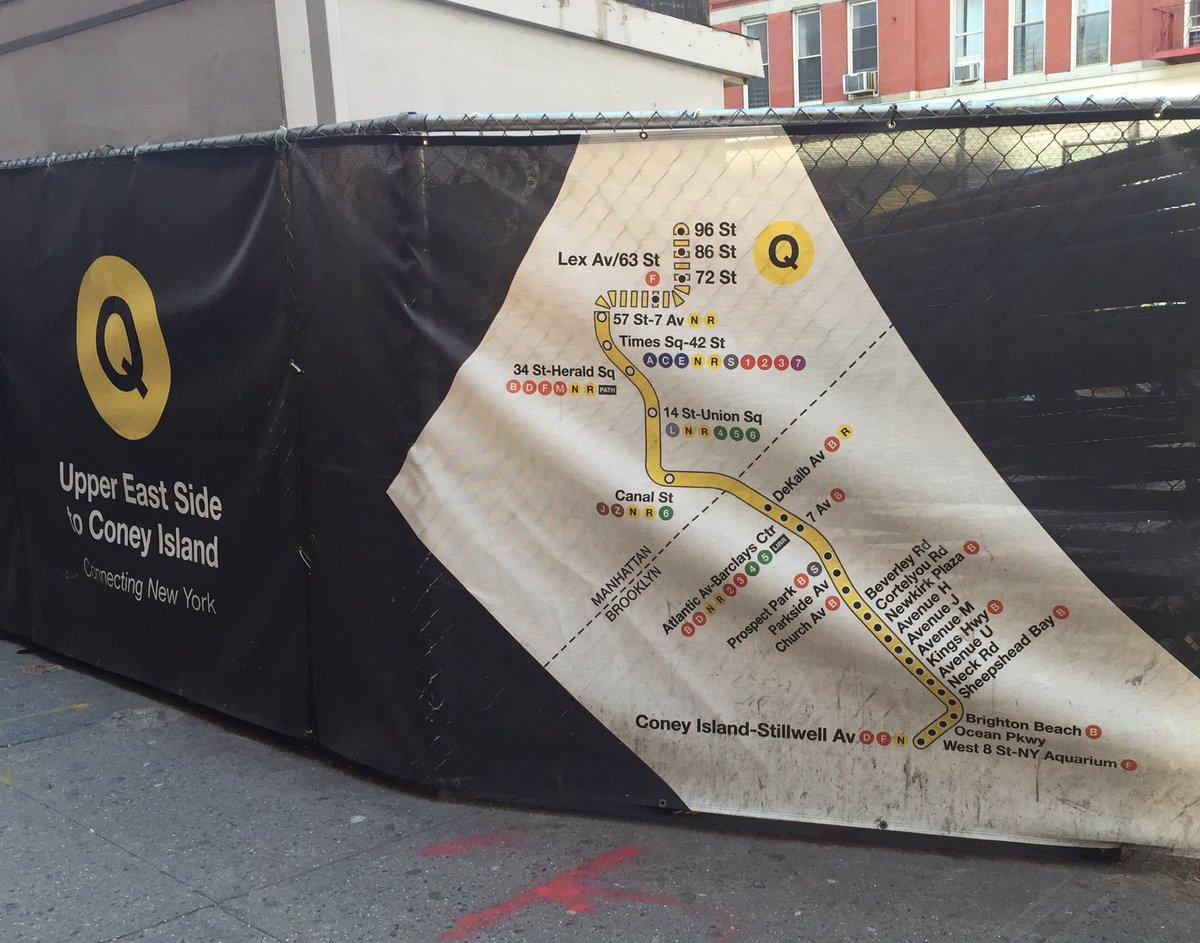 Subway Map Sheepshead Bay.Kickmap On Twitter Second Ave Subway Construction Tarp With Loopy