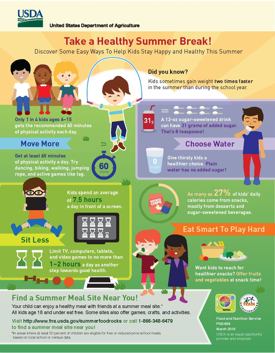 NEW infographic with ways to keep moving & eating healthy. https://t.co/oT8ccDmwzk #SummerMeals https://t.co/O5c57mzaji