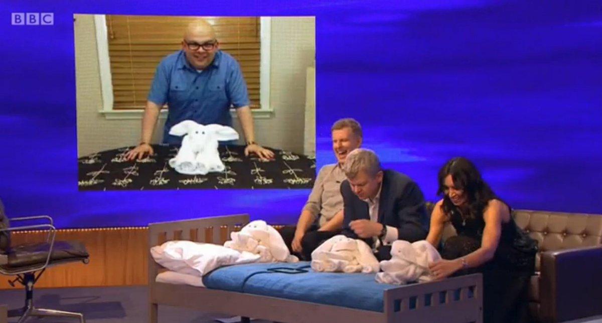 Teaching towel origami to celebrities in Ireland. @PatricKielty, @clbleakley & Adrian Chiles #DeleteDeleteDelete https://t.co/Zdk7HjncgQ