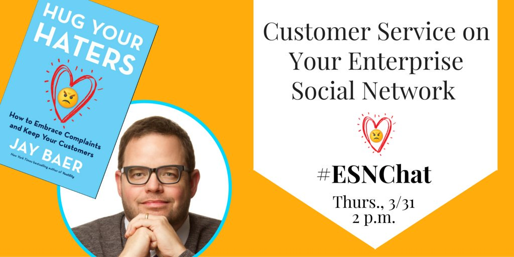 On today's #ESNchat we're discussing using your #ESN for #CustomerService with guest @jaybaer https://t.co/LLS21FTjTr