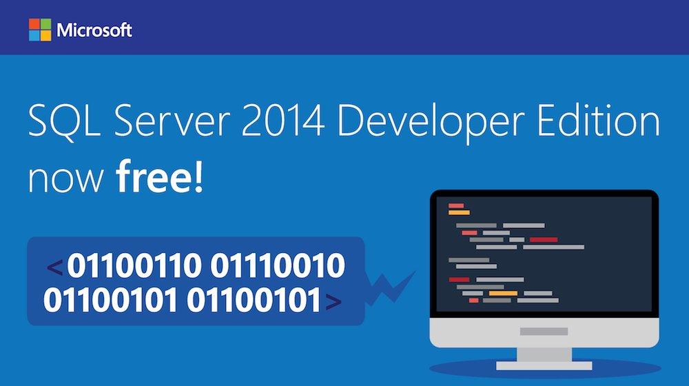 SQL Server 2014 Developer Edition GRATIS!