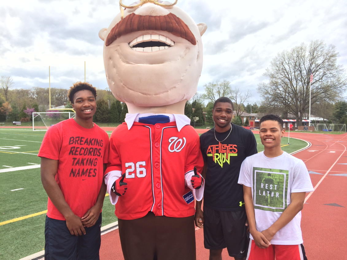 Thumbnail for T.C. Williams High School Boys Track Team Trains with the Washington Nationals Baseball Mascot