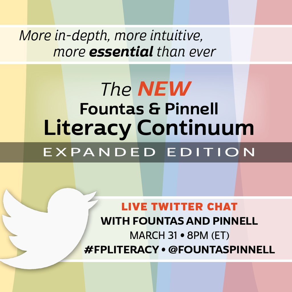 Join us tonight at 8pm (eastern) for a chat around the new Literacy Continuum. #FPLiteracy https://t.co/A0RKD2icoy