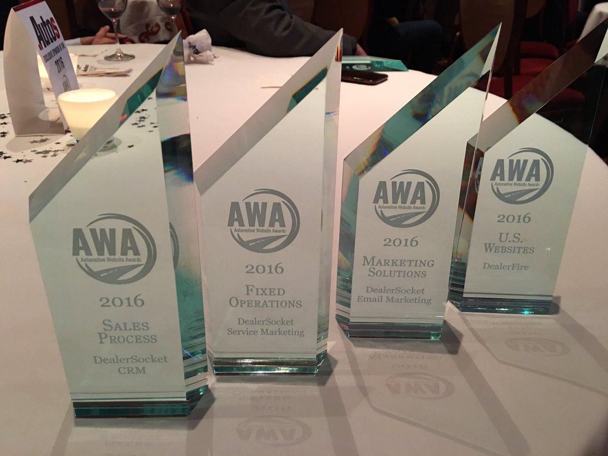 DealerSocket wins 4 #AWA2016 Awards: Sales Process, Marketing Solutions, Fixed Ops, & Websites. See why at #NADA2016 https://t.co/K4MDHqb8Ko