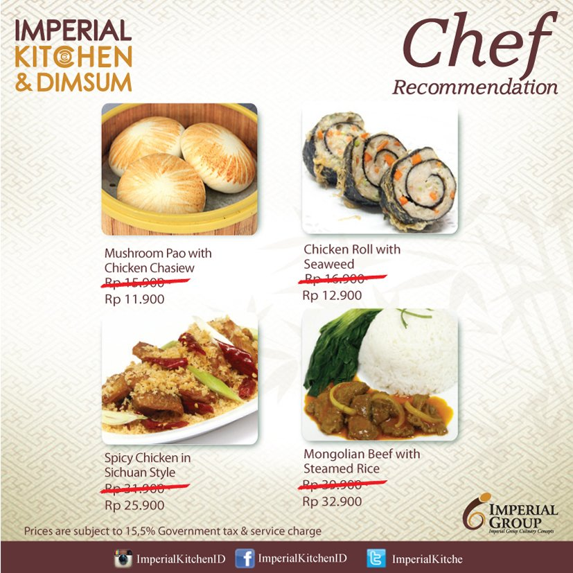 Imperial Kitchen Id On Twitter Nikmati Menu Chef Recommendation Di Imperialkitche T C Https T Co Yuvmedxyos