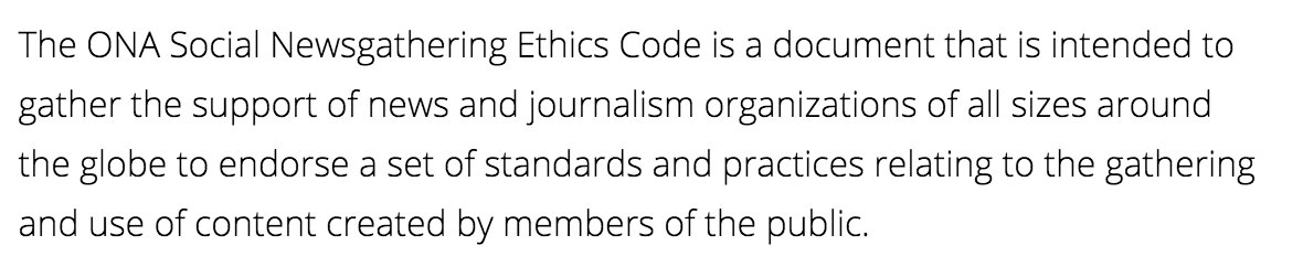 It is finally here. Introducing the @ONA Social Newsgathering Ethics Code #ONALondon https://t.co/UZmgK2Wow7 https://t.co/M6x80aR3KA