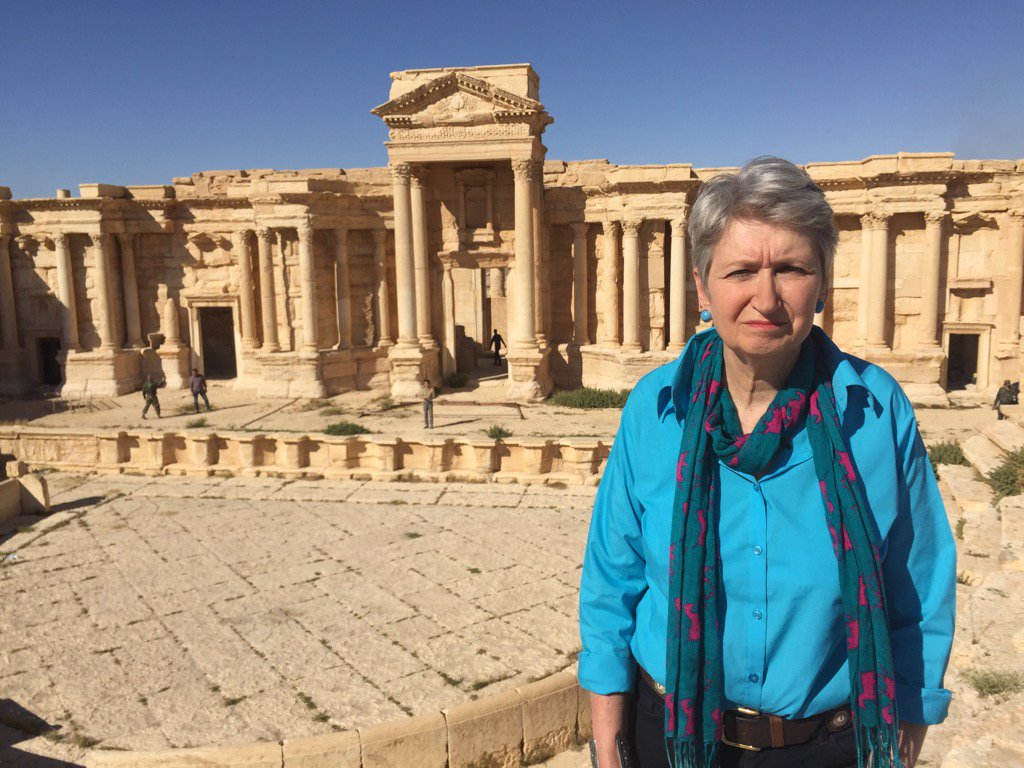 Extraordinary to be in #Palmyra today, at the ampitheatre where #ISIS carried out barbaric theatrical murders. https://t.co/tIAWWmkmxU