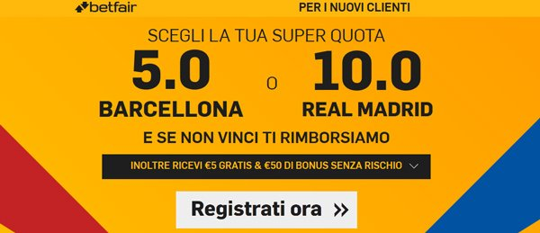 bonus betfair.it quote maggiorate