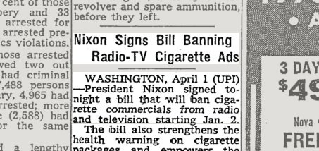 Image result for ban on radio and tv ads for cigarettes
