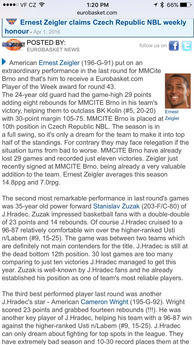 Eurobasket player of the week. Hate they using my government name though