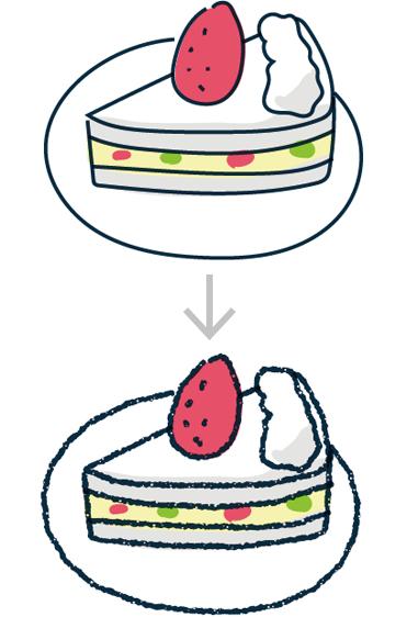 Illustratorのブラシや効果で、よりアナログ的に見せる手法もいくつか紹介しています。Illustratorのシンプルなラインも、一工夫でちょっと凝った印象に仕上がります