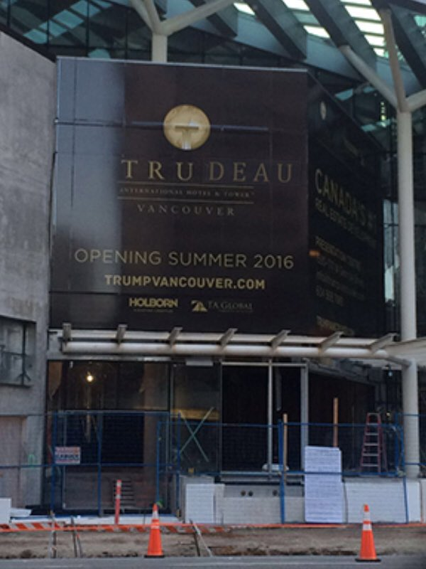 Best April Fool's prank! Someone changed the Trump Tower sign in #Vancouver to read Trudeau Tower. -#PEAKMornings https://t.co/rN1FLURNy8