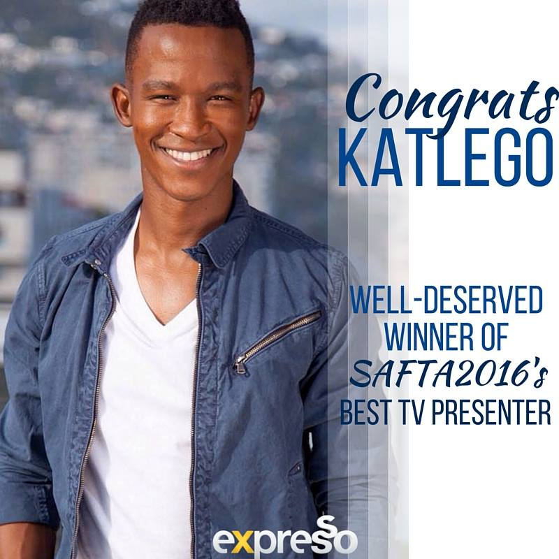 Well done, @KatlegoMaboe! We couldn't be prouder! Congrats and much love from your #ExpressoShow family! #SAFTAs10 https://t.co/LYYbCG8H7x