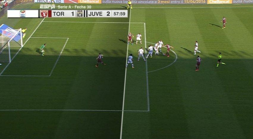La posizione di Maxi Lopez nel gol annullato durante Torino-Juventus